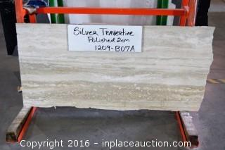 "LOT OF (6) SLABS: SILVER TRAVERTINE POLISH, LIMESTONE SLAB 3/4"" THICKNESS"