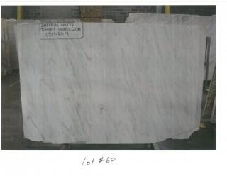 LOT OF (4) SLABS: IMPERIAL WHITE DANBY HONED, MONTCLAIR DANBY VEIN CUT, OLYMPIAN WHITE FLEURI POLISHED