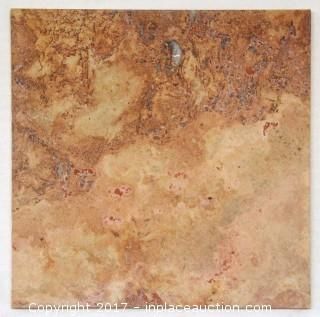 "Lot of 1 Crate: Red Travertine Honed - 16"" x 16"" x 3/8"" (196 pc = 300 sq ft)"