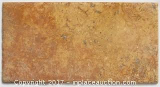 "Lot of 1 Crate: Red Travertine Tumbled - 7"" x 14"" x 3/8"" (176 pc = 120 sq ft)"